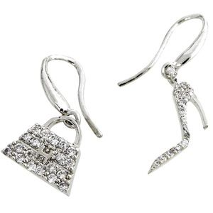 Stiletto/ Designer Handbag Pavé CZ Earrings, NWT